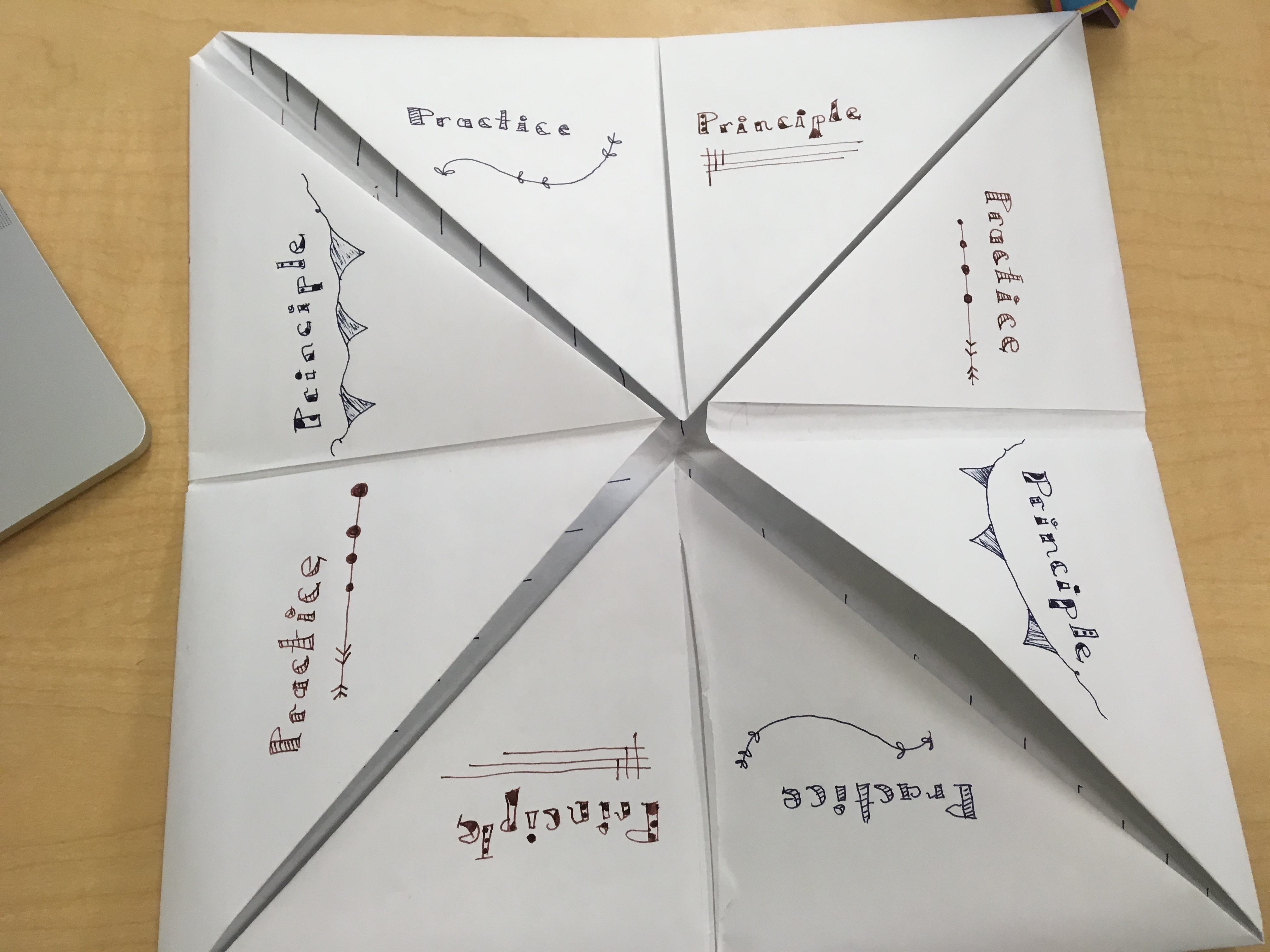 Partially unfolded cootie catcher.